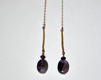 Long gold plated behind earrings, Amethyst drop