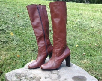 Vintage leather boots - Brazilian leather boots - Made in Brazil - Women's boots - Size 8.5 - Vintage boots - Leather boots