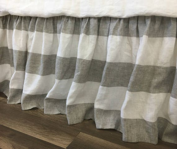grey and white striped linen bed skirt gathered ruffle. Black Bedroom Furniture Sets. Home Design Ideas
