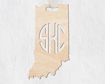 Indiana Ornament. Tree Ornament, Christmas Gift, Christmas Tree, Car Ornament, State of Indiana, State, Monogram, Initials