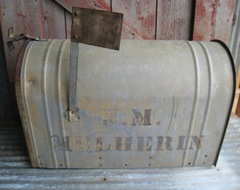 Huge Antique Mailbox Galvanized Rustic Metal U.S. Postal Rural Delivery by Northwestern Mail Box St. Louis, MO Farmhouse Decor