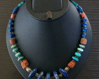 ON SALE High Class TURQUOISE Coral Lapis Lazuli Silver Necklace