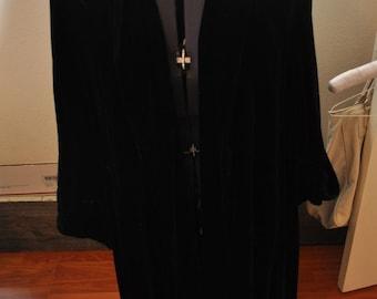 Vintage 1940s Black Velvet Opera Coat