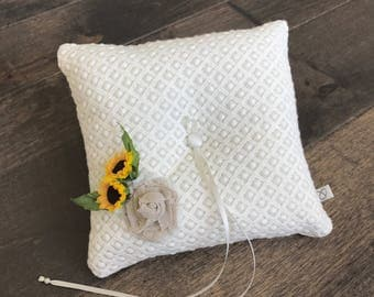 Hand made sunflower and burlap rose lace ring pillow