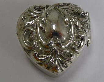 Petite Antique English Heart Shaped Pill Box - 1901