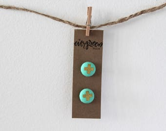 Metallic Gold + Mint Fabric Button Earrings