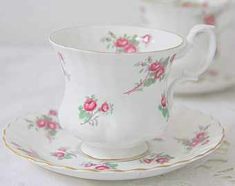 Vintage Richmond 'Rose time' Lady Size Cup and Saucer, Pink Rose Decor, England