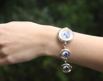Vintage Bracelet with Delft Blue Porcelain 'Stones', Windmill Decor, Silver Plated Setting