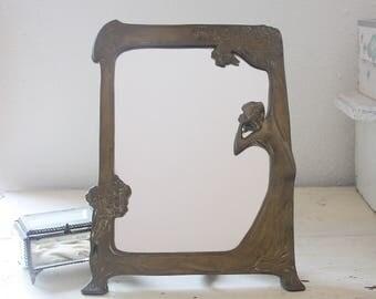 Beautiful Vintage Standing Mirror, Art Deco, Vanity Mirror, Lady Figurine and Flower Decor, France