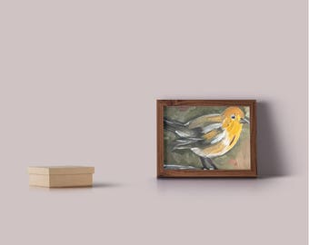 """Abstract Robin Painted In Oil """"8X8"""" Gallery Wrapped Canvas 