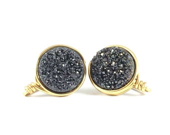 Black Druzy Mini Stud Earring - Wire Jewelry - Post Earring - Courtney And Courtnie - Drusy - Minimalist - Statement Earring - Gift For Her