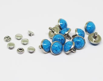 10 sets -10 mm Turquoise Round Rivet, Turquoise Studs Metal Stud Fancy, Boho Decoration - VOV.9