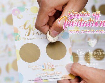 "Scratch Off Baby Gender Reveal ""What Will It Be?"" Gender Scratch Off Game Card Reveal the Sex SET OF 50 W\ENVELOPES"