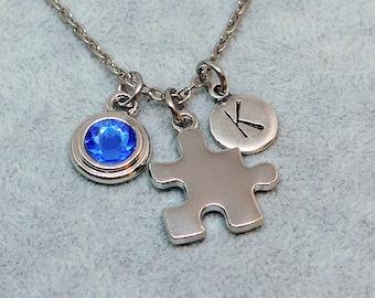 Silver Puzzle necklace, swarovski birthstone, initial necklace, birthstone necklace