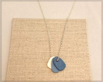 no.200 Delicate Blue Trio Porcelain Pendant Necklace
