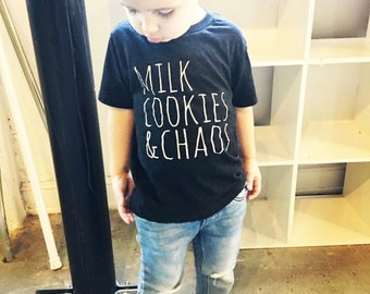 Milk Cookies & Chaos Kids T-Shirt, Tri-blend, Comfortable. Funny Gift. Shirts with Sayings. Black