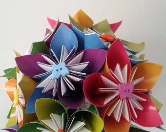 """A rainbow of happiness"" origami bouquet (finished)"