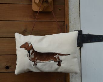 embroidered with Dachshund cushion