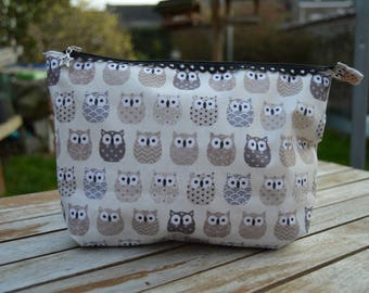 beige Kit toiletry bag, makeup, storage owls 15/25 / 4cm