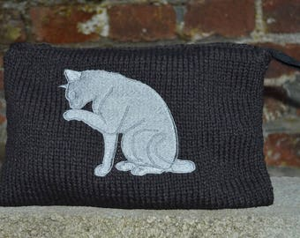 Pouch with embroidered cat