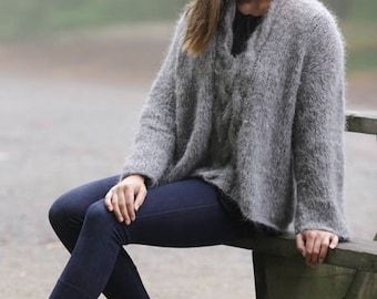 Knitted jumper with cables and shawl collar, in Alpaca and Wool, Alpaca Sweater, oversized, handknit, made to order