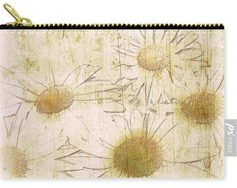 Rustic Daisy Zipper Pouch,Handbag,Cream,Yellow,Earthy,Floral Pouch,Carry All Pouch,Small Medium Large,Coin Purse,Makeup Bag,Shabby Chic,Boho