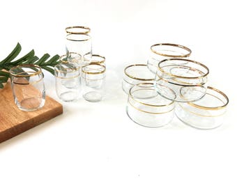 Vintage glasses drinking glasses set mid century glasses mid century modern gold glasses glassware appetizers gift for women small glasses