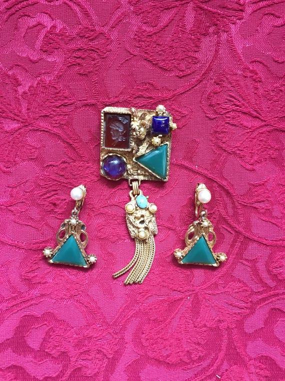 FREE SHIPPING - Kramer New York - Vintage Brooch-Earring Set