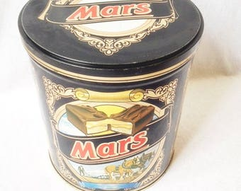 Retro Vintage Mars Tin Canister 7x6.25 Inches Old Mars Candy Tin Vintage Candy Tin Mars Candy Bar Tin Canister
