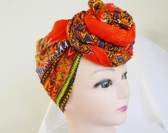 Orange Dashiki Print Ankara Head wrap, DIY head tie, Stylish African head scarf, Fabric hair accessory – Made to Order