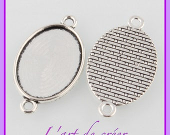 10 connectors, oval cabochon 13 x 18 mm, silver color support