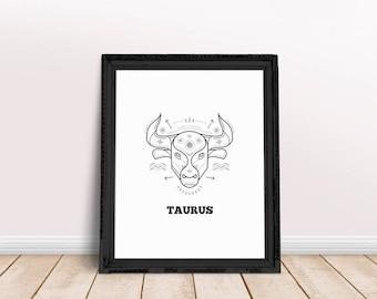 Taurus | Taurus Printable, Taurus Wall Art, Taurus Poster, Taurus Zodiac Art, Taurus Sign Art, Zodiac Sign Wall Art, Horoscope Poster