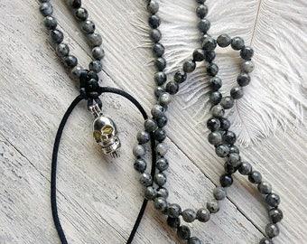 Labradorite necklace / Long skull necklace / Gemstone necklace / Long beaded necklace / Black necklace
