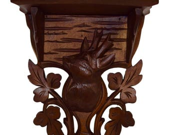 French Antique Black Forest Hand Carved Wood French Wall Clock or Bracket Shelf - Stag's Head - Hunt Theme - Cabin Decor