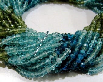 Beautiful Natural Multi Apatite Beads , 3-4 mm Rondelle Faceted Gemstone Beads , Length 13 inches long , Very Good Quality Apatite Beads.
