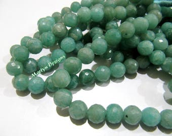 Natural Amazonite Faceted Ball Shape Beads , Genuine Amazonite 8-9mm Gemstone Beads , Strand 9 inches , Faceted Round Shape Amazonite Beads.