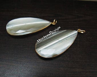 AAA Quality Natural White Opal Pear Shape Briolette Connector Pendant Charm , Unique Rare Gemstone Bezel Single Loop , Size 22x45mm
