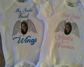 Hand Picked Onesie, personalized, In Loving Memory of, remembrance, loved one,  memorial, in honor, picture, heaven, wings, tribute, unique