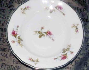Mid-century (c.1950s) RARE! Favolina FAV4 rimmed soup | salad bowl.  Pink roses and buds, blue florals, greenery, broad scalloped gold edge.