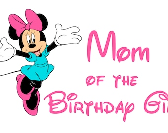 Disney Minnie Mouse Mom of the Birthday Girl T Shirt Iron On Transfer Personalized Free
