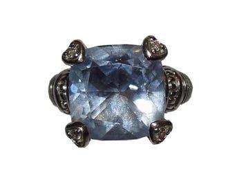 Judith Ripka Sterling Silver Blue Quartz Diamond Fontaine Ring