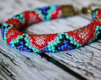 Oriental pattern purple bracelet red black blue seed beads beaded bracelet bead rope spiral beads bracelet rope bracelet seed beaded jewelry
