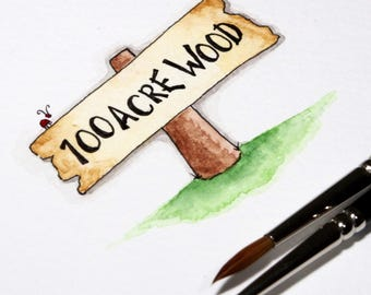 Winnie the Pooh, hundred acre wood wooden sign post