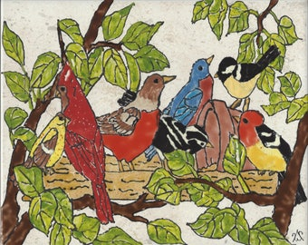 Beautiful Backyard Birds #2 Hand Painted Kiln Fired Decorative Ceramic Wall Art Tile 8 x 10