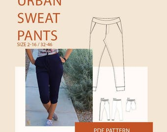 womens tracksuit pants PDF sewing pattern/womens sweatpants PDF pattern for sewing/womens  jogging pants /womens Gym pants pdf tutorial