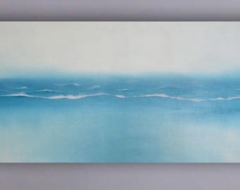 Sea and waves - Original abstract oil painting 19,68'' x 39,37''