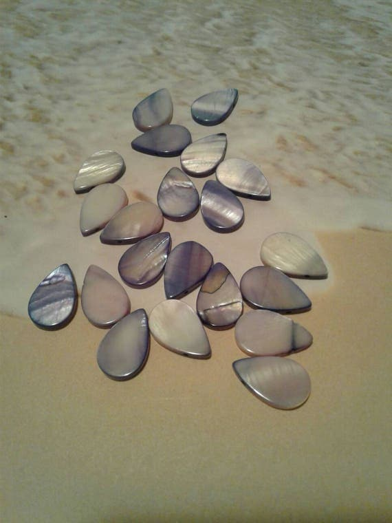 Mother of Pearl Teardrop Beads, 20 beads in a set from ...