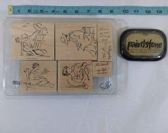 Stampin Up Rubber Stamp 2003 Set of 7 Mounted Wooden Stamps SKETCHES & Pad
