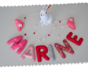 Name to customize fabric and felt Garland