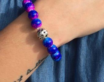 Blue and Pink Tie Dye Bracelet
